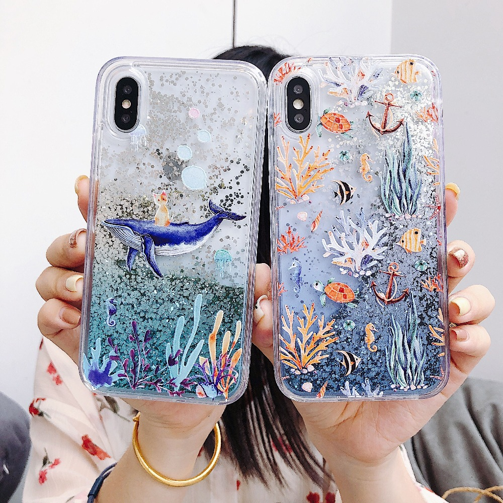 For Samsung Galaxy S7 Edge S8 S9 S10 Plus Lite Cases Whale Coral Liquid Quicksand Silicone Cover For Galaxy Note 8 9 Coque Capa in Fitted Cases from Cellphones Telecommunications
