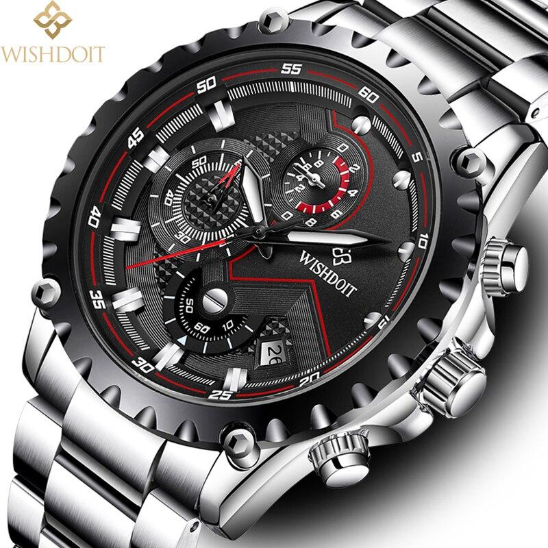 WISHDOIT Watch Men Fashion Sport Quartz Watch Top Brand Luxury Full Steel Waterproof Wrist Watch Relogio Masculino Zegarek Meski