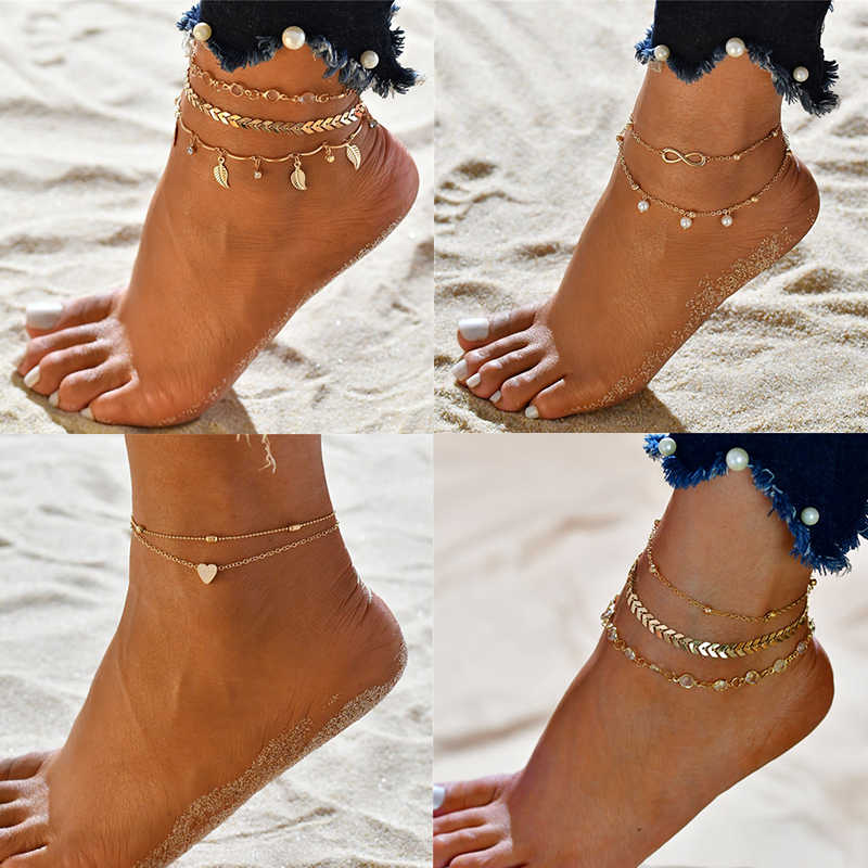 Modyle 3pcs/set Simple Heart Female Anklets Barefoot Crochet Sandals Foot Jewelry Leg New Anklets On Foot Bracelets For Women
