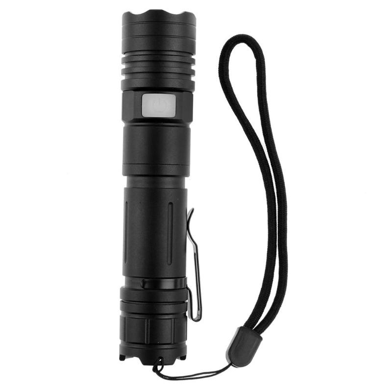 Black Waterproof USB Charging Flashlight Outdoor Hiking Emergency Light 1600LM XML-L2 LED Zoom Aluminum Torch