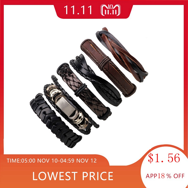 LASPERAL 1Set/5-6PCs Punk Rock Skull Star Multi Charm Bracelet For Women Men Gothic Jewelry Braided Rope Leather Bracelet Men