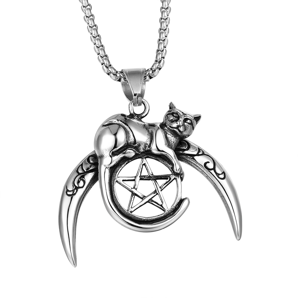 цена 2018 New Hiphop Goofan Classic Pentagram Cat Disc Pendant Necklace Stainless Steel Fashion Jewelry for Men Women Gift STN1178