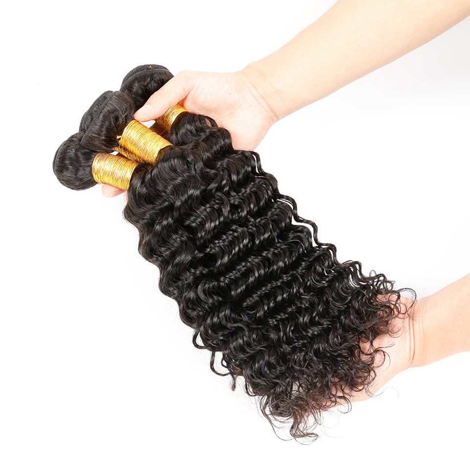 Real Indian Deep Wave 3 Bundles Human Hair Natural Color Machine