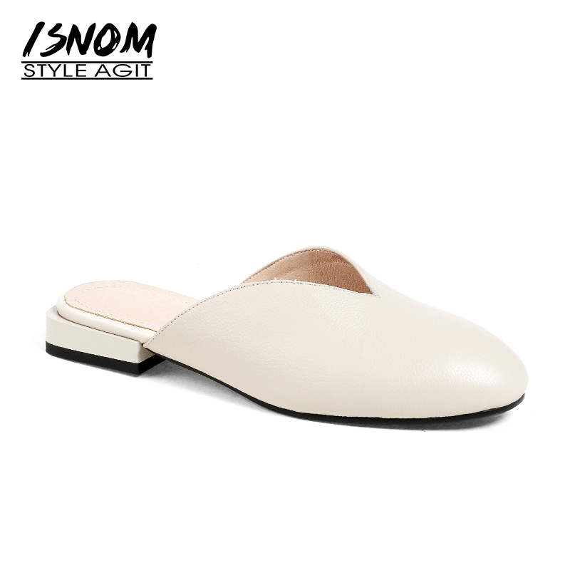 ISNOM New Genuine Leather Women Slippers Round Toe Square Heels Slides Footwear 2018 Brand Spring Fashion Ladies Mules Shoes