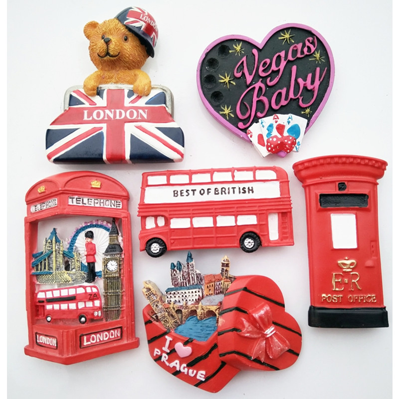 Free shipping 1pc England London Bus Post Guard Bear Vegas Tourism Fridge Magnets Figure car home office decoration toys gifts