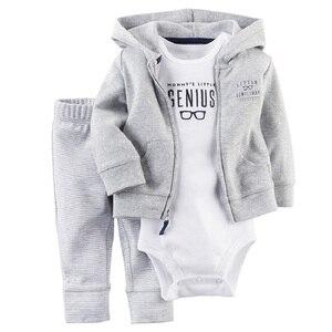 Image 2 - 2017 Baby Boys Clothes Sets Newborn Bodysuit Pant Jacket 3 pcs Suit Fashion Bebe Girl Clothing Children Sport Suit Cotton Outfit