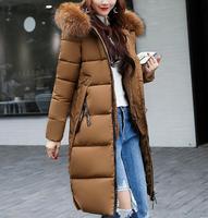 Пальто большого размера, зимнее Новое тонкое пальто с меховым воротником и капюшоном, длинное женское хлопковое пальто, модные толстые тепл...