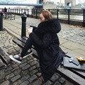 2016 Новый Большой Енот Шуба Зимняя Куртка Женщины Толстый Теплый Хлопок Ватник Армия Зеленый Длинное Пальто Негабаритных Куртка Парка