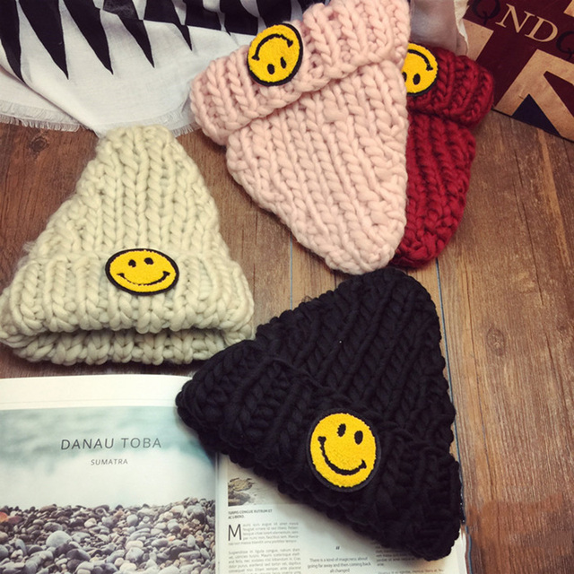 Hot Sale Unisex Knitted Hats Smile Wool Hat Winter Beanies Cap Women Men 4 Colors Woolen Hat Gorro Casual Beanies Korea Hats 105
