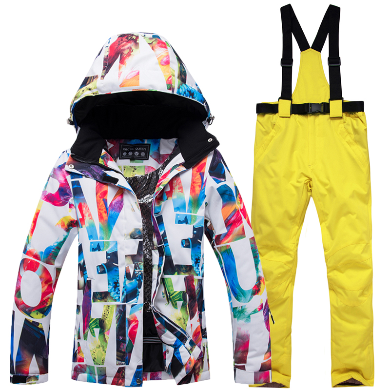 High quality outdoor ski suit suit female models warm winter wind and waterproof ski jacket ski pants for women free delivery in Snowboarding Sets from Sports Entertainment