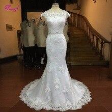 fsuzwel Fmogl Scoop Neck Beaded Mermaid Wedding Dresses