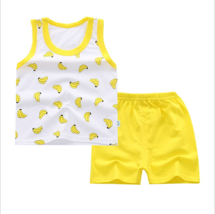 Baby Boy Girl Clothes Summer 2018 Newborn  Boys Clothes Set Fruit print Baby Clothing Suit (Vest+Pants) Girl Infant Clothes Set 3pcs set baby boy clothes newborn gentleman baby clothing shirt vest pants baby boy clothing set