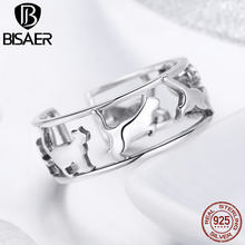 BISAER Cocktail Ring 925 Sterling Silver Happy Cat Pussy Adjustable Rings for Women Animal Cat Finger Ring Anel Jewelry ECR473(China)