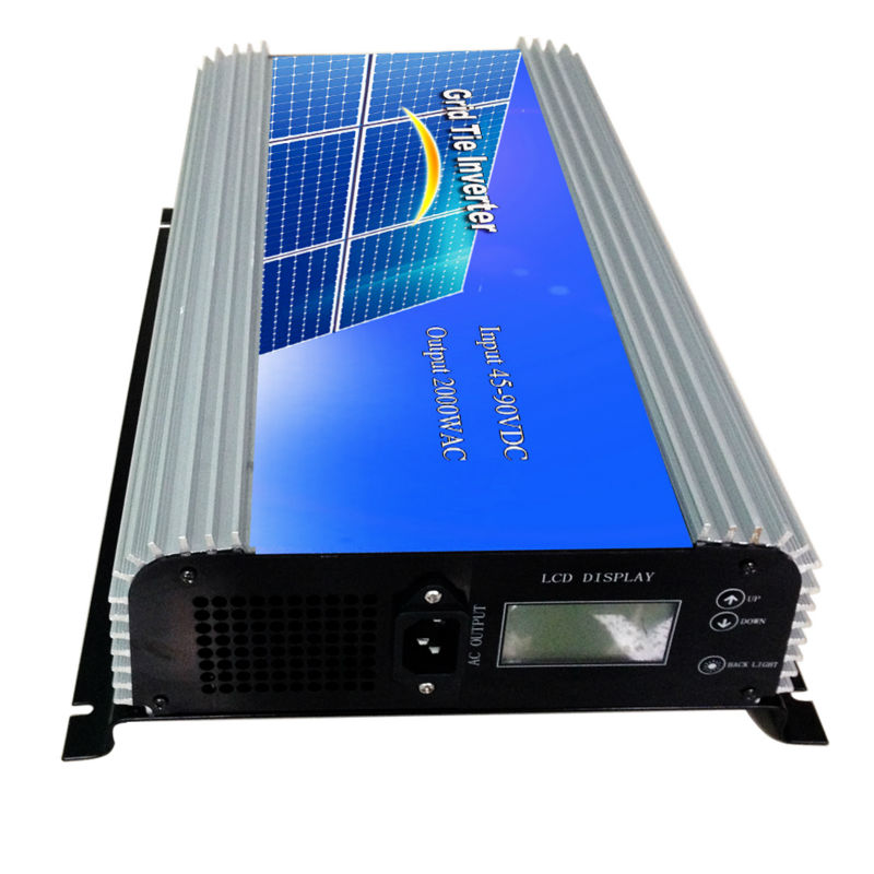 MAYLAR@ 45-90V DC to AC 220Vac 2000W Pure Sine Wave Grid Tie Power inverter with LCD display maylar 22 60vdc 300w dc to ac solar grid tie power inverter output 90 260vac 50hz 60hz