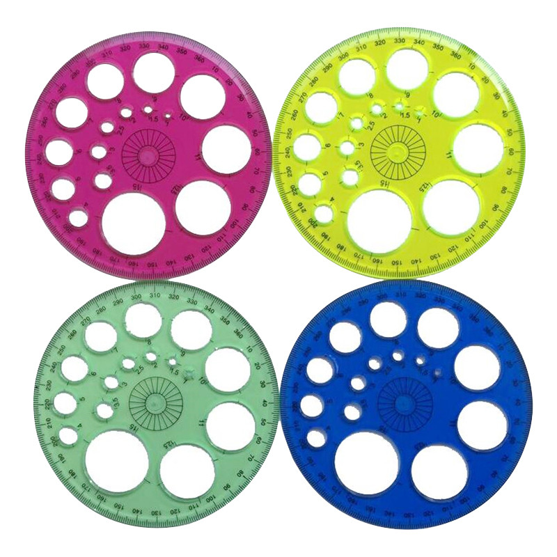 1 Pcs Foot Diameter 11.5cm 360-degree Circular Blue Red Green Yellow Optional Four-color High-grade Patchwork Ruler Wholesale