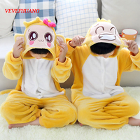 VEVEFHUANG Cute Warm Flannel Kids Little Monkey Pyjamas Children Animal Cosplay Costume Onesie Pajamas For Boys