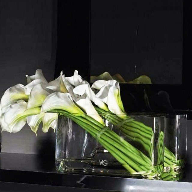 Rectangular Glass Aquarium Square Cylinder Flower Flowers Placed