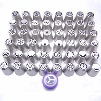 48PCS Nozzles 1 Coupler Russian Tips Tulip Stainless Steel Icing Piping Pastry Decorating Tips Cake Cupcake