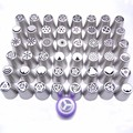 48PCS Nozzles 1 Coupler Russian Tips Tulip Stainless Steel Icing Piping Pastry Decorating Tips Cake Cupcake tools