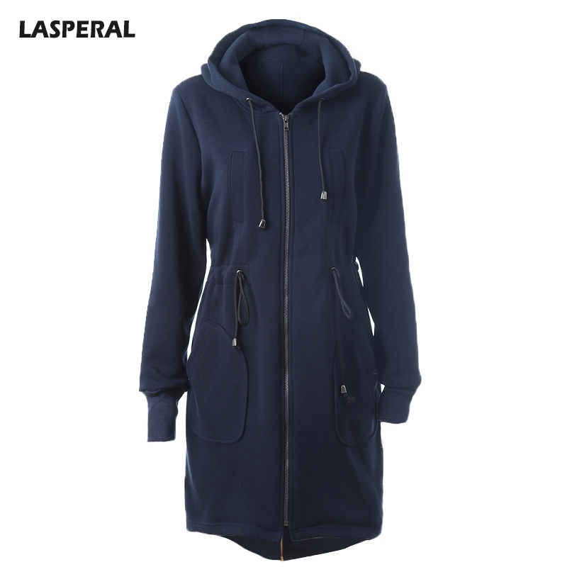 LASPERAL Long Hooded Sweatshirts Hoodies Women With Pockets Zipper Hoodies Jackets Feminine Solid Drawstring Outerwear Moletom