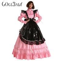 French PVC Prissy Sissy Maid Lockable Long Dress Cosplay Costume Crossdress Uniform