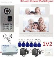 SUNFLOWERVDP Wideo Domofony IP65 Wodoodporna Rfid Karty/Kod CCD 700TVL Kamera Wideo Telefon Aparat Do Monitoringu Wideo