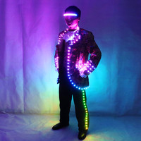 LED Court Suit, Digital Full Color IC Remote Control LED Jacket for Bar Hosting, Wedding Men's dress Costume Tron suit