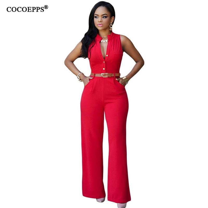 2018 Women Summer Plus Size Jumpsuit With Belt Rompers Woman Jumpsuit Solid Women Clothing Spring Rompers 2XL Combinaison femme