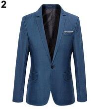 5 цветов Для мужчин мода Slim Fit формальный одна кнопка костюм Блейзер Пальто Куртки и пиджаки Топ Для Мужчин's Пиджаки