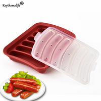 DIY Sausage Making Mold Silicone Burger Hot Dog Maker Mould With 6 Cavity Patty Makers Microwave