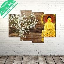 Лучший!  4 Шт. Сияющий Будда Современного Искусства Стены Холст Картины Плакаты и Принты Обрамленная  Лучший!