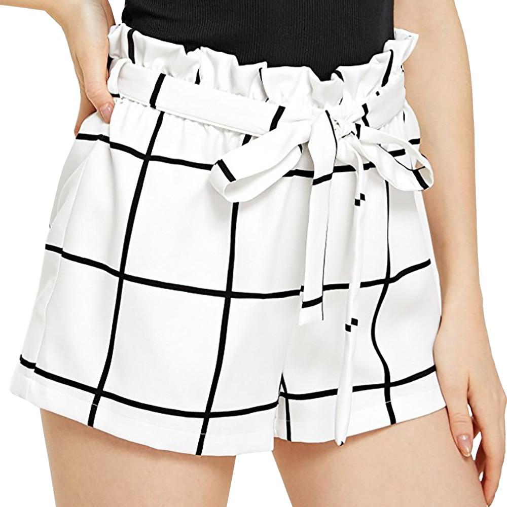 Womens Plaid Mid Loose Waist Hot Shorts Trousers Jersey Plus Size Walking Short Pantalon Corto Mujer #HHH