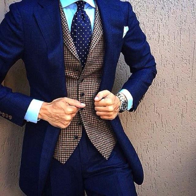 US $84.15 15% OFF|Marineblauw Heren Pakken kostuum homme blazer mannen slim fit blazer Bruiloft mannen Pak Groomman Smoking (jas + broek + vest) in