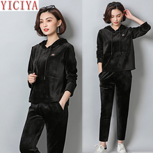 YICIYA Black tracksuits for women outfits velvet two piece set plus size large big hooded pant suits and top co-ord clothing