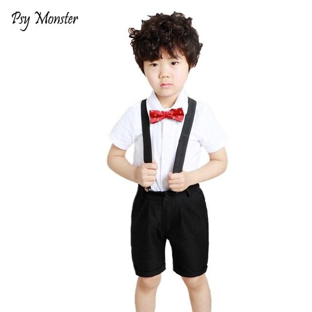 fc88cc0c5edc School Boys Summer 4Pcs Wedding Birthday Party Suit with Bowtie Kids Formal  Performance Boys Shirt+Shorts Uniform Costume F107