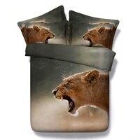3D животных постельных принадлежностей Лев пододеяльник покрывало кровать в мешок лист белье CAL Super King Twin двойной королева Размер Доона Одея...