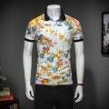 Цветок печати М-3XL качество Цветочным Принтом Лето С Коротким Рукавом Polo Рубашка Мужчины Бизнес Повседневная Мужская Polo Рубашки Поло Homme