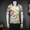 flower print M-3XL quality Floral Print Summer Short Sleeve Polo Shirt Men Business Casual Mens Polo Shirts Polos Homme
