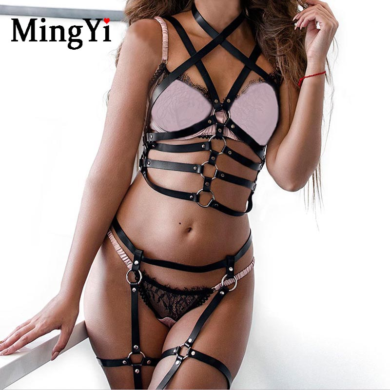 Body Harness Lingerie Women Adjustable Hollow Out Punk Leather Cage Weaved Body Harness Skirts Belt Waist Leg Garter Belt with Metal O-Rings Studs Club Party Dance Costume Halloween Rave Wear Women