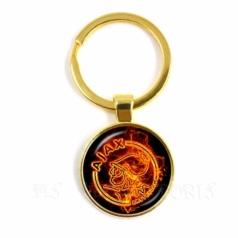 Futbol kulübü 25mm cam Cabochon anahtarlık Ajax futbol ligleri Logo futbol kulübü anahtarlık hayranları hediye