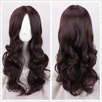 Fate/grand order cosplay da vinci peruca feminina marrom escuro ondulado longo lolita peruca de cabelo perucas traje peruca + boné