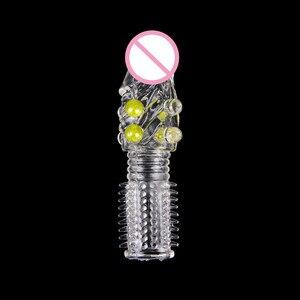 Image 1 - Condones PRODUCTOS DE SEXO reutilizables para estimulación de gallo anillo macho, extensión de manga de pene, Juguetes sexuales para adultos, eróticos, 1 unidad