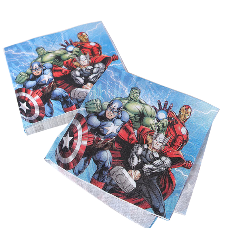 20pcs/bag Character Avengers napkin Children Birthday Party Decorations Kids Party Supplies  Birthday Disposable Tableware Sets-in Disposable Party Tableware from Home & Garden