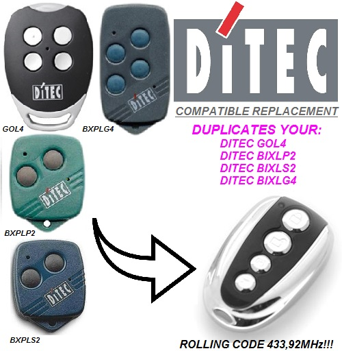 FOR DITEC GOL4,BIXLP2,BIXLS2,BIXLG4 Rolling Code 433mhz Duplicator Replacement Garage Door Remote Control