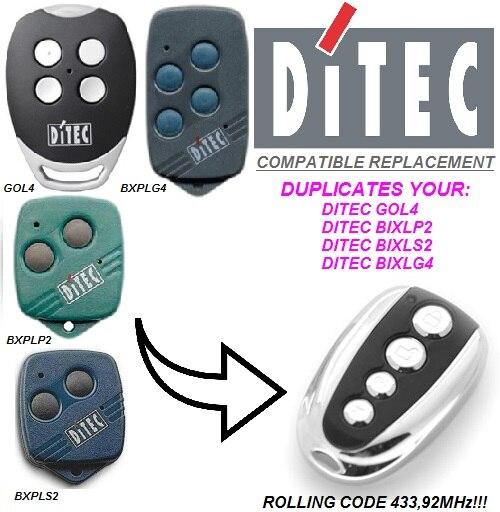 For DITEC Garage Door Remote Control 433mhz Rolling Code DITEC GOL4 BIXLG4 BIXLP2 BIXLS2  Garage Remote 433.92mhz
