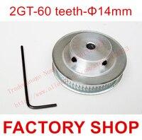 1 шт. 60 зубов диаметр 14 мм GT2 зубчатый шкив fit ширина 6 2GT ремень 3D Бесплатная доставка