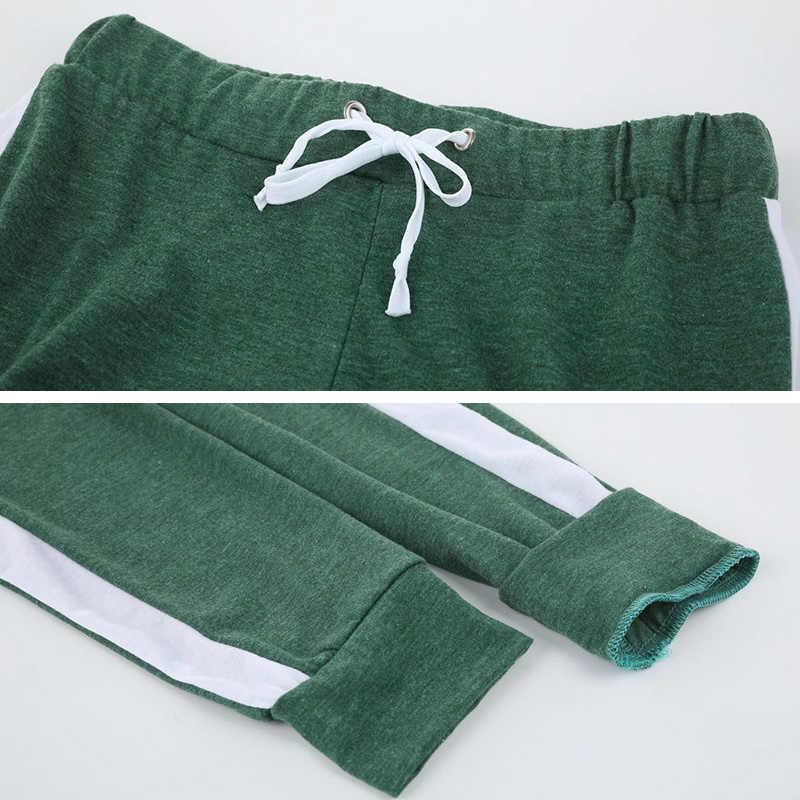 Wanita Kasual Keringat Celana Strip Samping Ketat Celana Pinggang Pelari Wanita Kebugaran Dorong Hingga Sportswear Kerja Tinggi Elastis Pas
