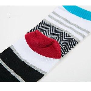 Image 5 - 5 Pairs/Lot Mens Summer Cotton Toe Socks Striped Contrast Colorful Patchwork Men Five Finger Socks Free Size Basket Calcetines