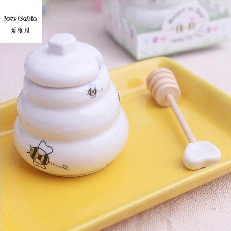 Image 4 - Предназначенный для пчелы керамический горшок для меда 10 шт./лот  свадебный душ для подаркаgift favorgift giftsgift pot