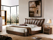 storage ottoman contemporary genuine leather bed modern bedroom furniture made in China